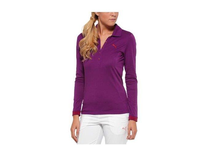 Puma dámské golfové tričko s dlouhým rukávem fialové