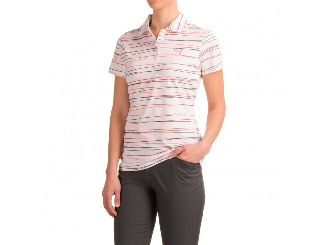 Puma Road Map Stripe dámské golfové tričko bílé