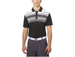 Puma Key Stripe pánské golfové tričko černé s pruhy