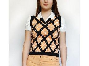 BackTee Ladies Retro golfová vesta - černo broskvová