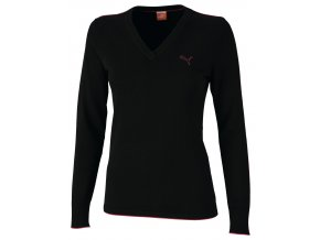 Puma dámský golfový svetr černý s ružovou pumou