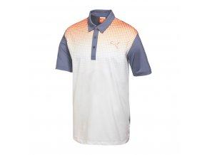 Puma Junior Glitch golfové tričko šedo oranžovo bílé