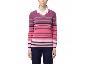 Dámský golfový svetr Puma Depths s výstřihem do V růžový