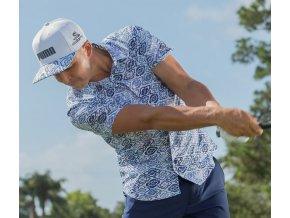 Puma Aloha Woven pánské golfové tričko modrý potisk