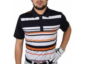 Tony Trevis pánské golfové tričko s pruhy černo oranžové