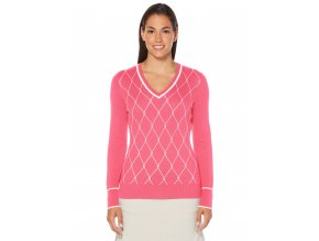 Callaway V Neck dámský golfový svetr růžový s kosočtverci
