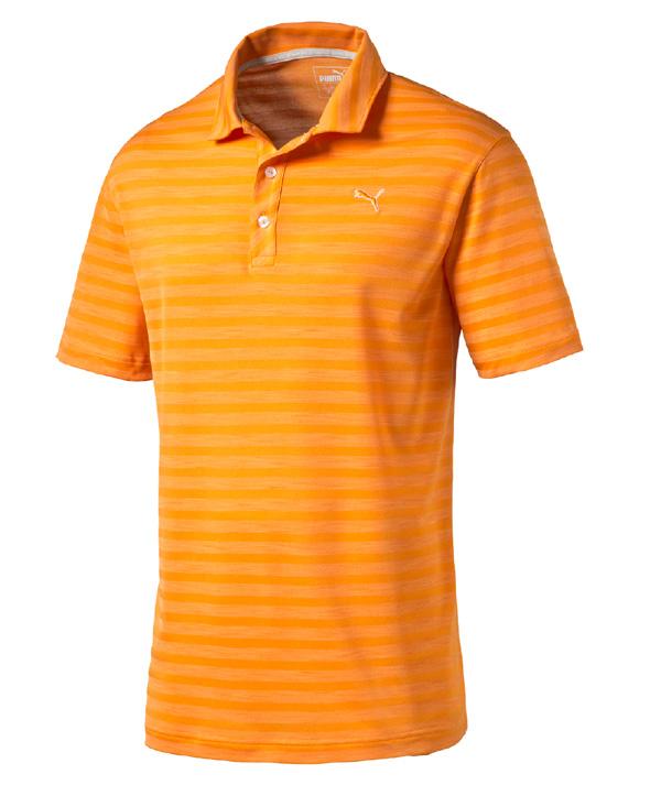Puma golf Puma Mixed Stripe pánské golfové tričko oranžové Velikost: XL