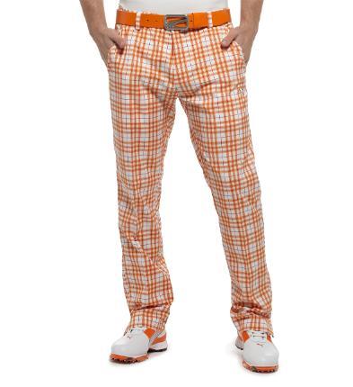 Puma golf Puma pánské golfové kalhoty s kostkami oranžové Velikost: 32/34