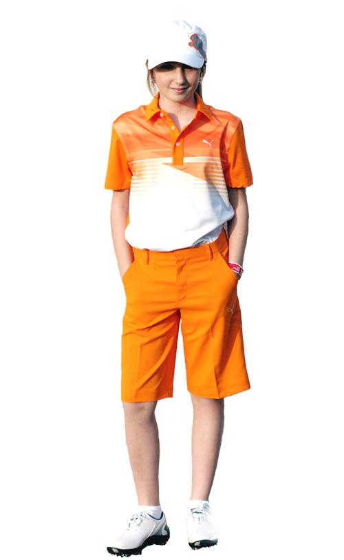 Puma golf Puma junior golfové tričko oranžové Velikost: 128