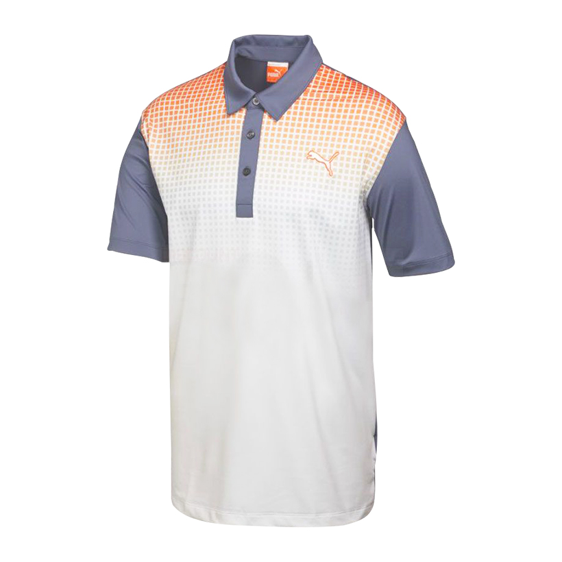 Puma golf Puma Junior Glitch golfové tričko šedo oranžovo bílé Velikost: 128