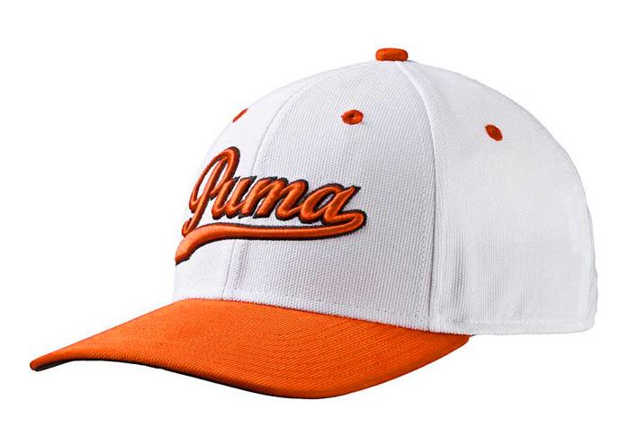 Puma golf Puma Junior Script Fitted golfová čepice bílo oranžová
