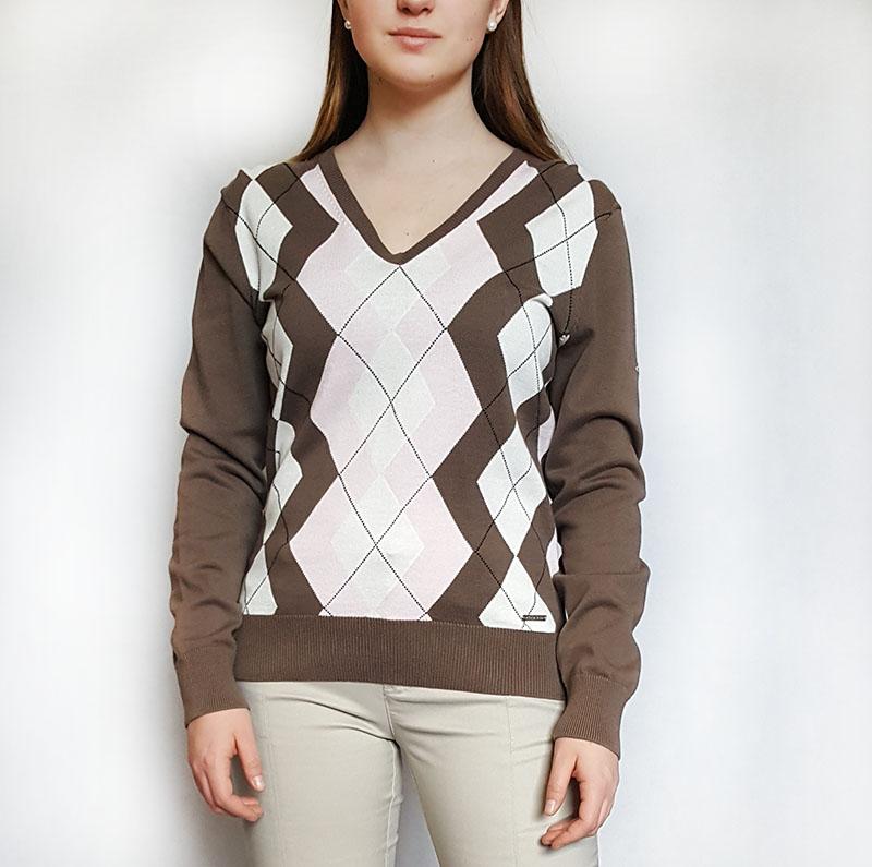 9d0cb184a2b Rohnisch dámský golfový svetr hnědý s kosočtverci M