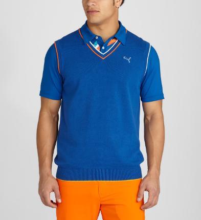 Puma golf Puma pánská golfová vesta v retro stylu modrá Velikost: XXL