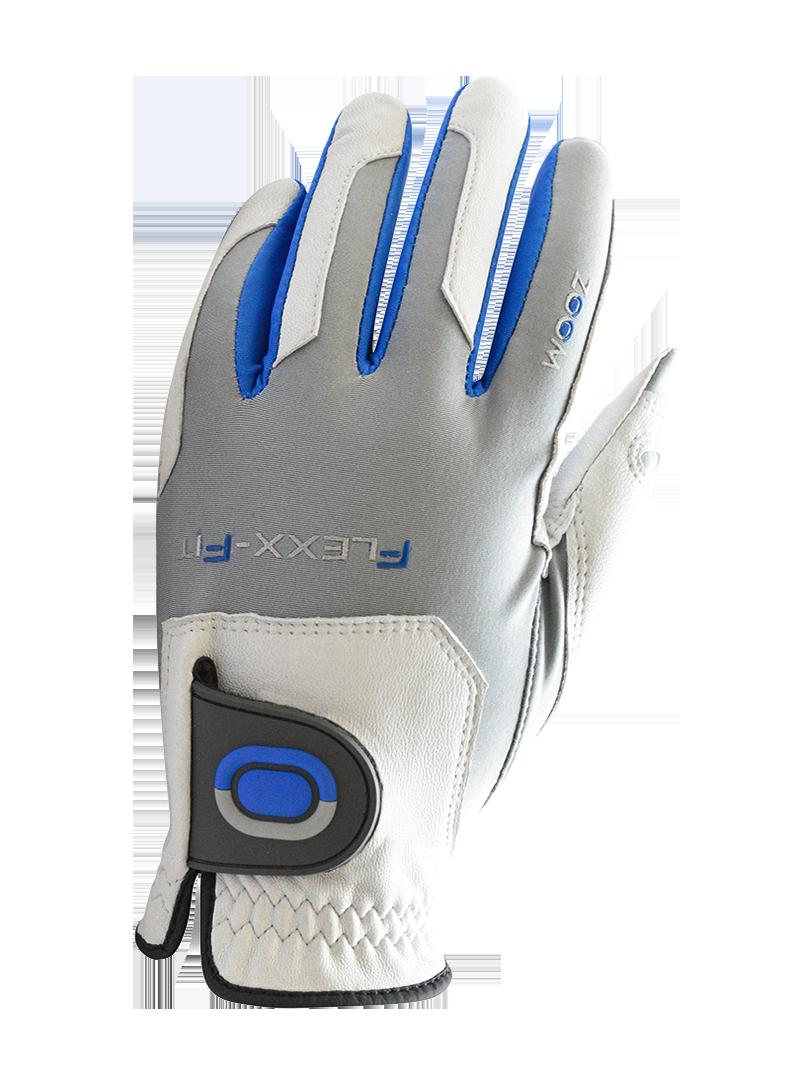 GolfTech Pánská golfová rukavice ZOOM bílá-stříbrná-modrá