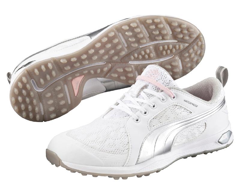 Puma golf Puma BioFly Mesh dámské golfové boty bez spiků bílo stříbrné Velikost: 36