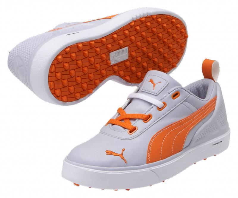 Puma golf Puma juniorské golfové boty Monolite Mini - šedo oranžové Velikost: 34.5