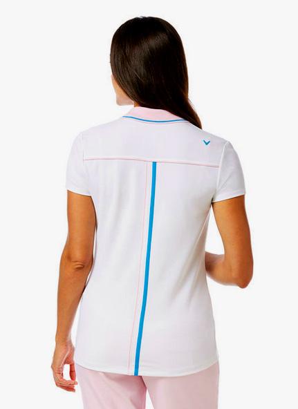 Callaway golf Callaway dámské golfové tričko bílé s růžovým límcem Velikost: XS