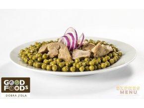 Zelený hrášek s kuřecím masem (1 porce)