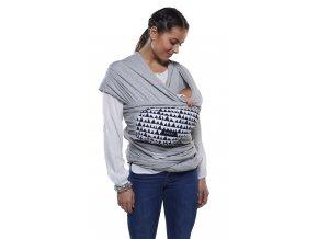SG.081 šátek na nošení miminka GEO LOVE šedá
