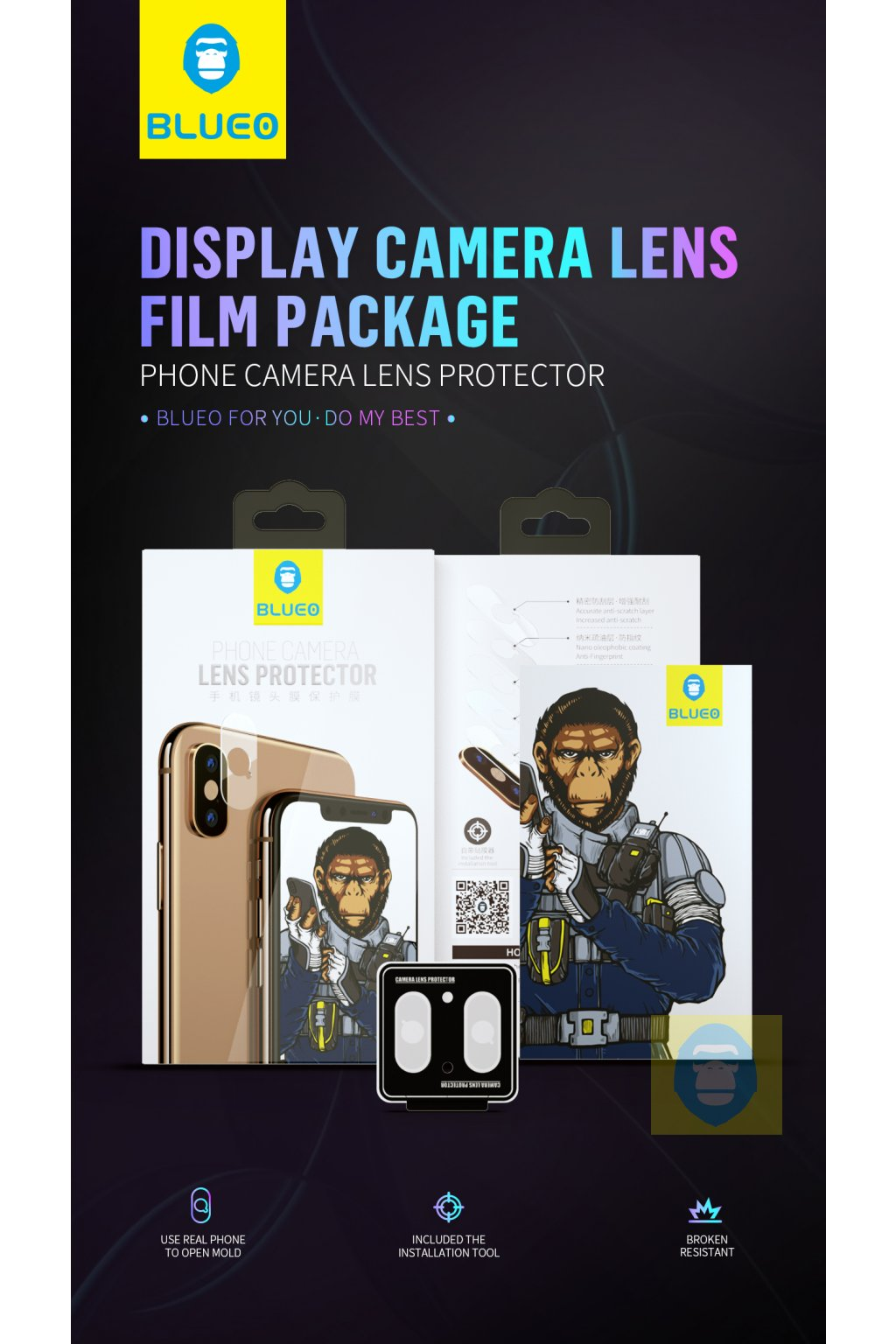 BLUEO HD Ochrana čočky fotoaparátu Gorilla Type (0,26 mm) Samsung S10/S10+ 3BH