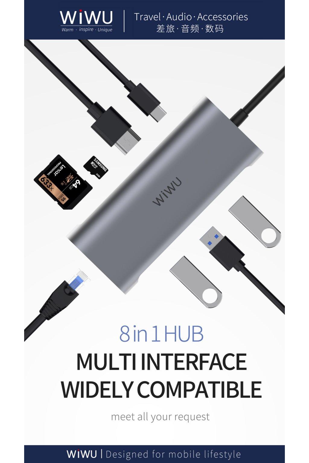 WiWU USB-C multi-port hub a rozbočovač 8v1 Alpha 831HRT