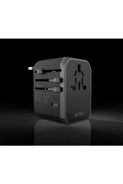 WiWU Univerzální cestovní adaptér do zásuvky s USB a USB-C porty (EU/UK/USA/AUS) UA301