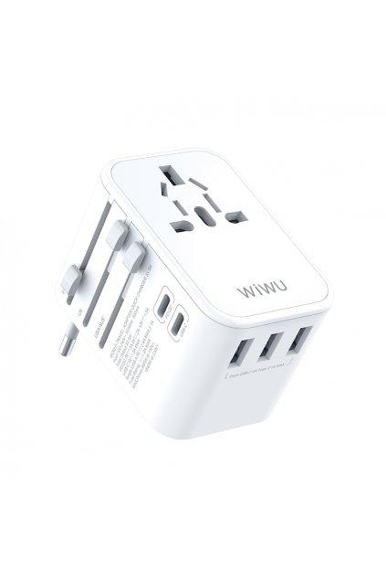 WiWU Univerzální cestovní adaptér do zásuvky s USB a USB-C porty (EU/UK/USA/AUS) UA303