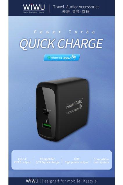 WiWU Cestovní adaptér s USB a USB-C porty a podporou rychlonabíjení (EU/UK) Power Turbo PD-005PT