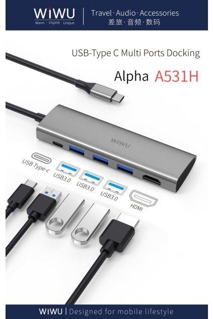 WiWU USB-C multi-port hub a rozbočovač 5v1 Alpha A531H