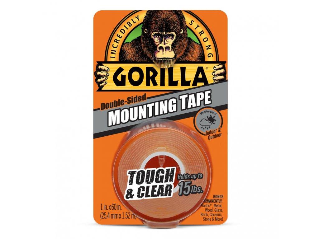Gorilla Tough & Clear Mounting Tape 25,4mm x 1,52m, oboustranná lepicí páska průhledná