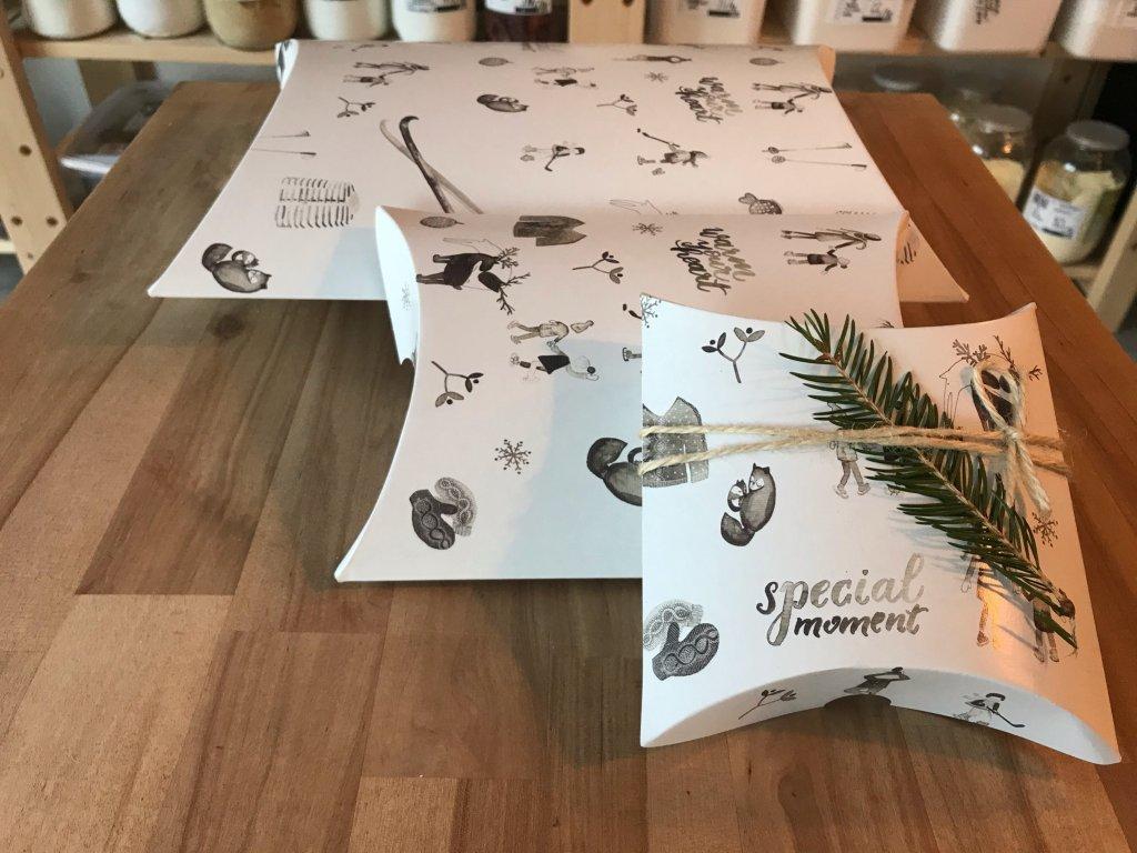 Vánoční krabičky na balení černobílé (3 velikosti)