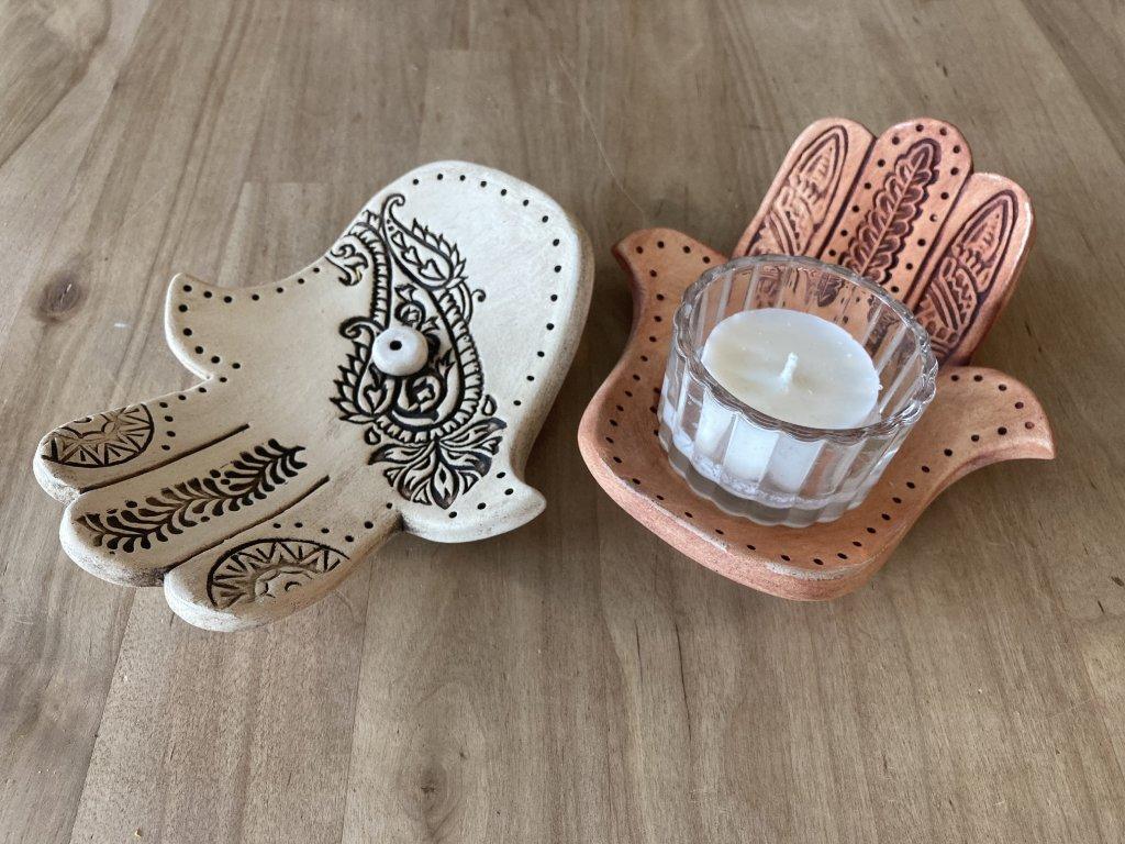 Hamsa Hand stojánek na vonné tyčinky & svíčky