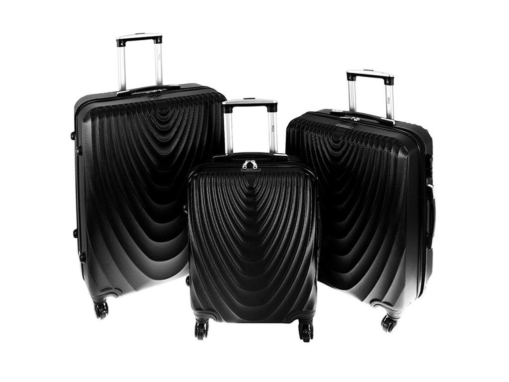 cestovni zavazadlo kufr na koleckach sada 3 ks kufru 663 cerny