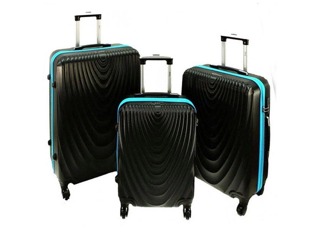 cestovni skorepinovy kufr 663 cerny modry sada