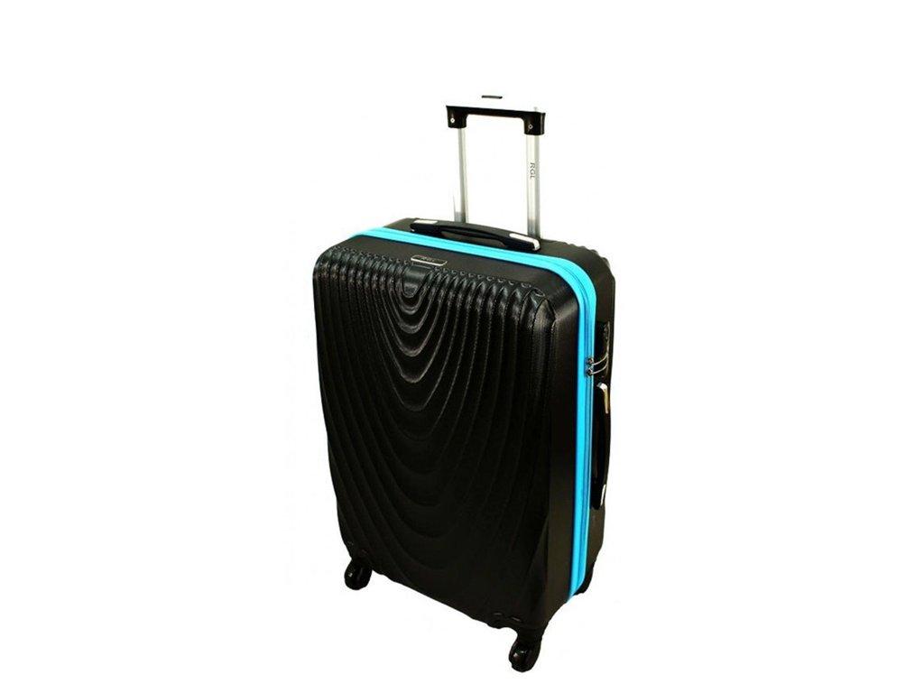 cestovni skorepinovy kufr 663 cerny modry zip L