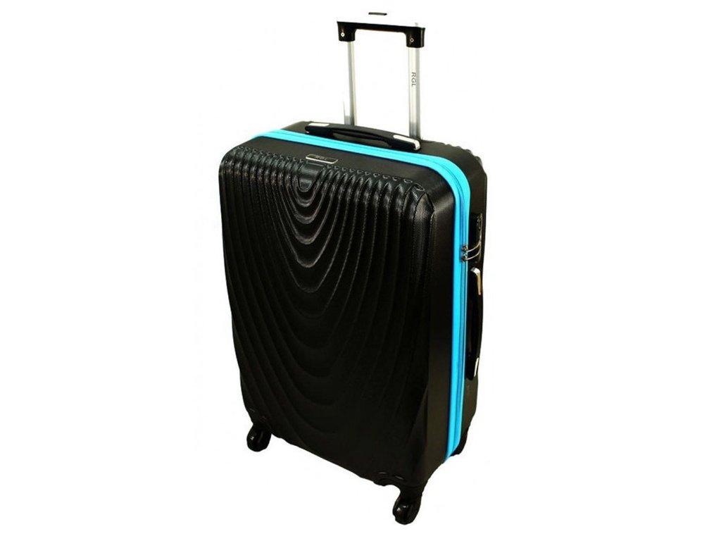 cestovni skorepinovy kufr 663 cerny modry zip XXL
