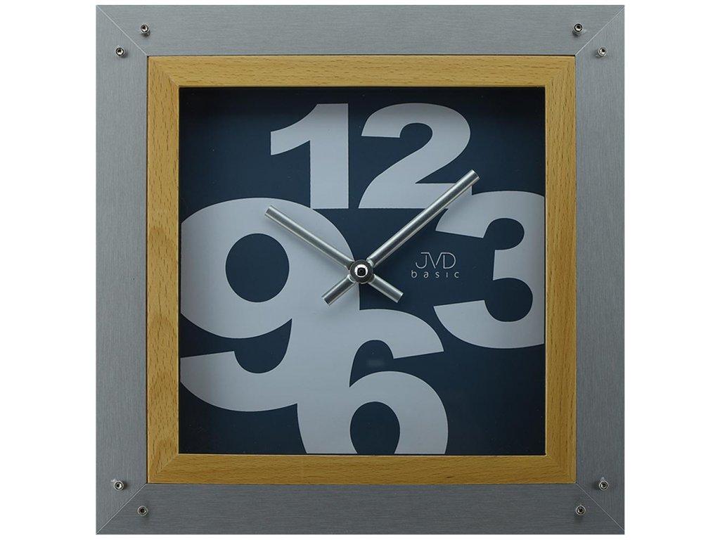nastenne hodiny drevo nerez modre