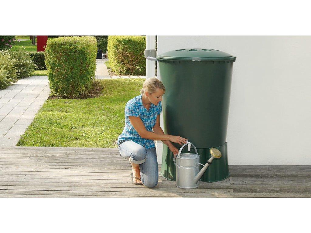 Plastová nádrž na dešťovou vodu sud zelený 210 L