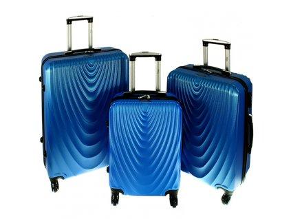 cestovni skorepinovy kufr na koleckach sada 3 ks kufru 663 modry