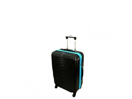 cestovni skorepinovy kufr 663 cerny modry zip s