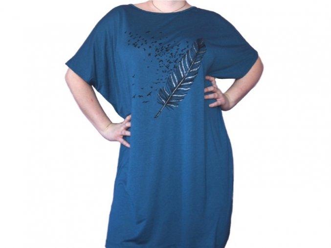Dlouhé tričko s motivem peří