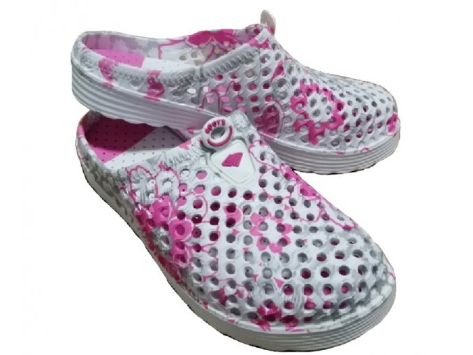 Dámské boty ve stylu crocs s růžovými květinami