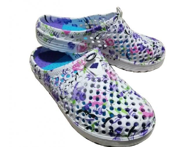 Dámské boty ve stylu crocs s fialovými květinami