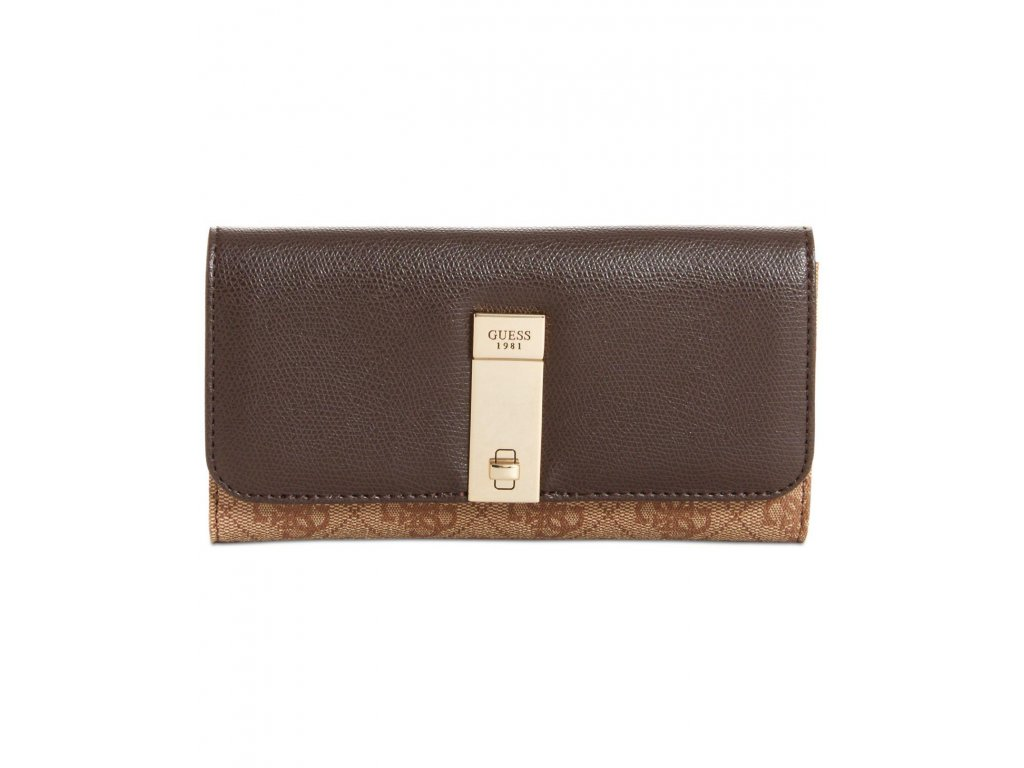 guess Brown Nissana Slim Clutch Wallet