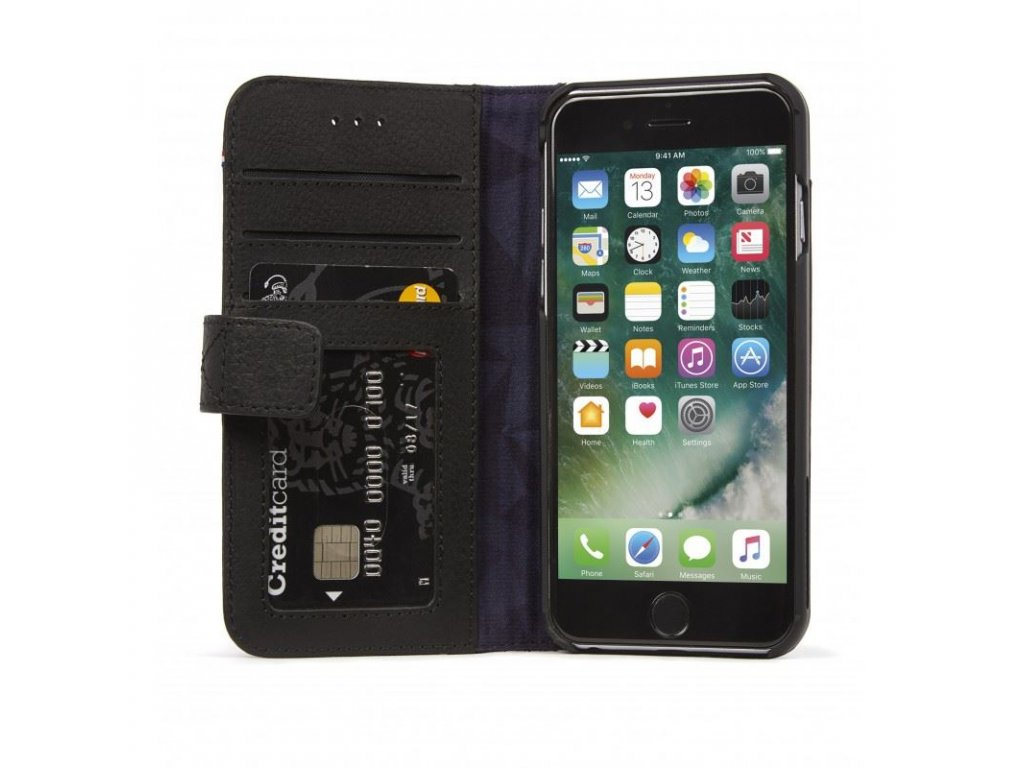 Decoded Leather Wallet Case, black - iPhone SE/8/7