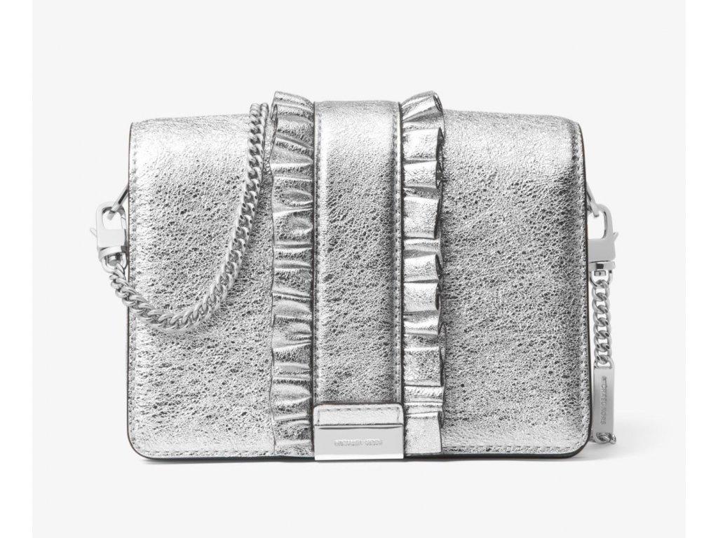 Jade Ruffled Metallic Leather Clutch silver