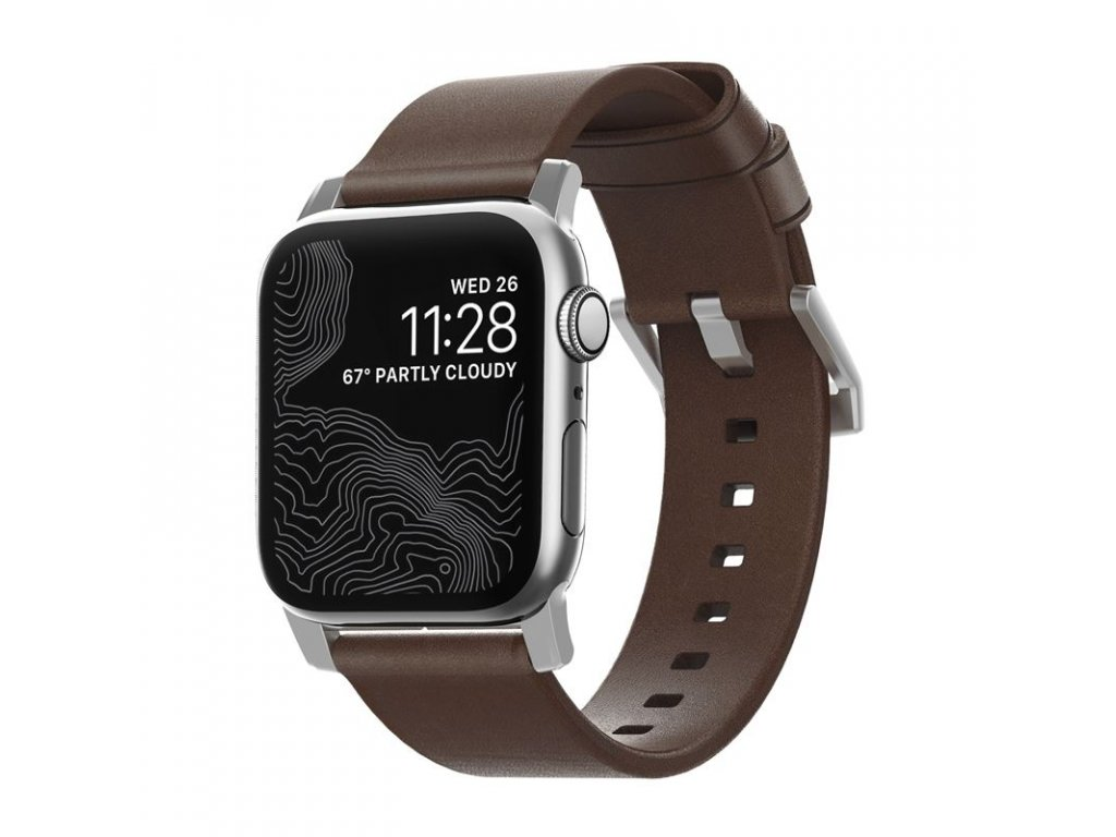 Nomad Leather Strap Brown, silver - AW 45/44/42 mm
