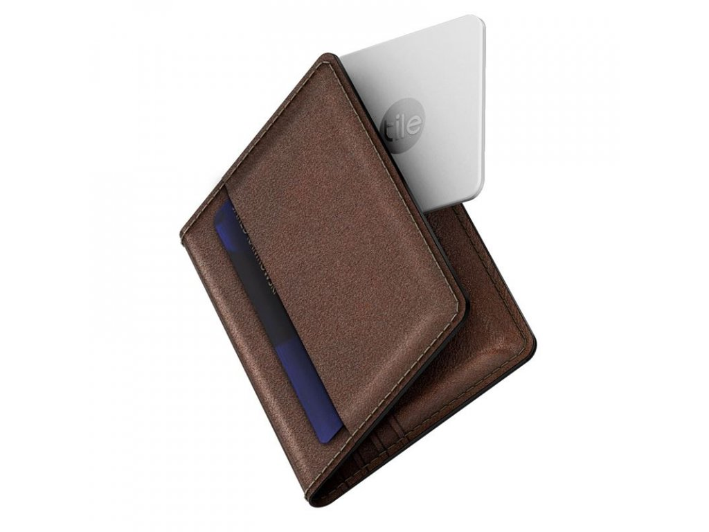 Nomad Leather Wallet with Tile tracking - brown