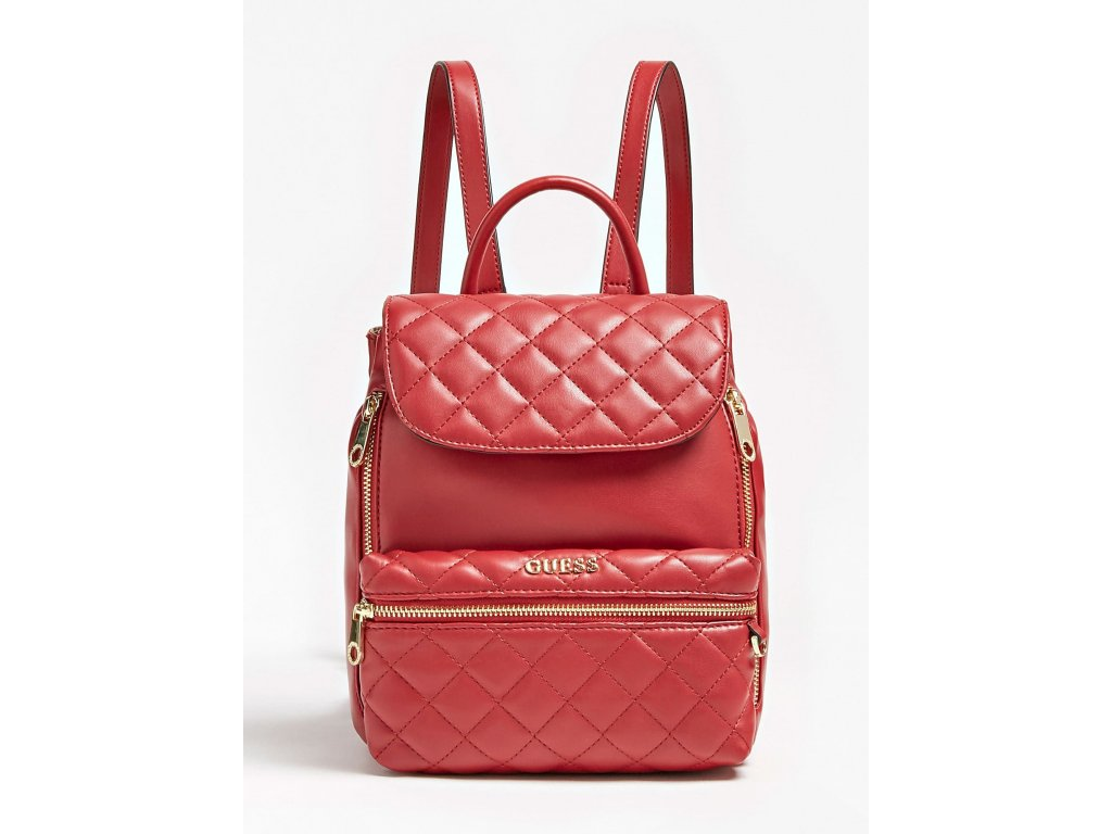 ALANIS MEDIUM QUILTED BACKPACK červený