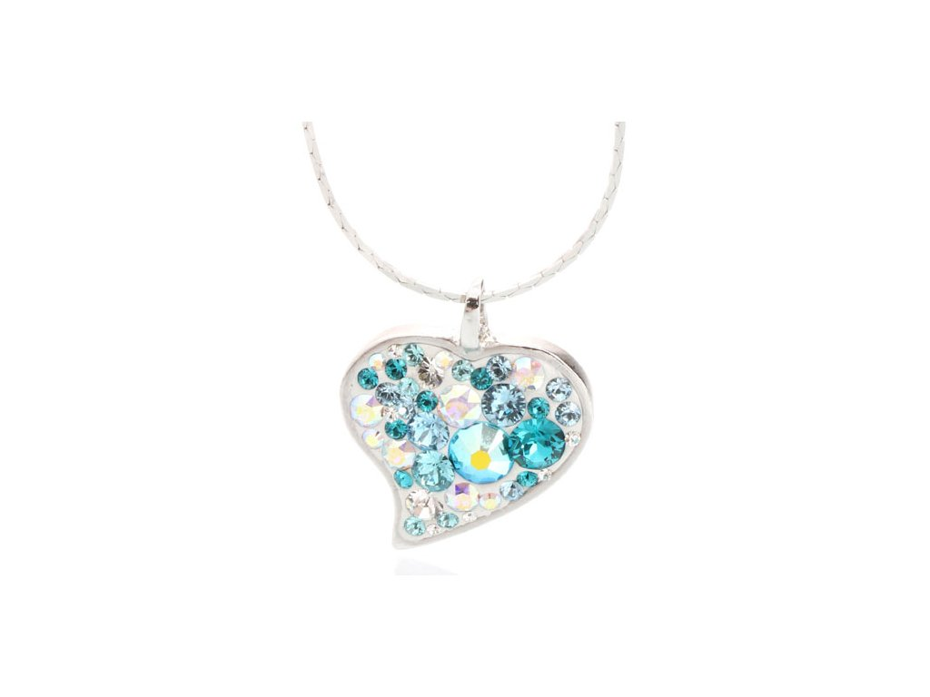 Náhrdelník s krystaly Swarovski Heart Aqua